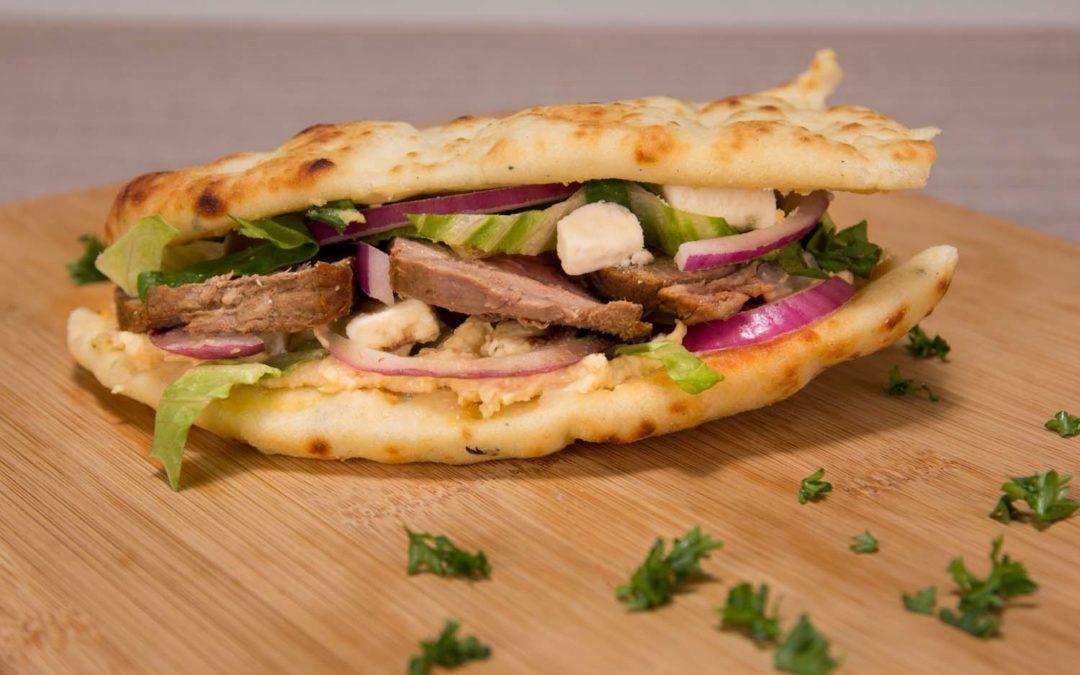 Grilled Steak & Hummus Flatbread Sandwich